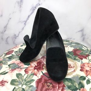"Stuart Weitzman ""Arise"" Black Suede Wedge Shoes"